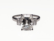 3.65 Carat Platinum Emerald Cut Diamond Engagement Ring