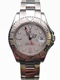Mid Size Stainless Steel Rolex Yachtmaster with Platinum Dial and Bezel