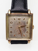 Mens 14 Karat Yellow Gold Square Face Rolex Watch Circa 1940's