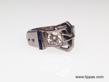 14 Karat White Gold Diamond and Synthetic Sapphire Buckle Ring