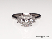 Platinum Custom Made Radiant Cut Diamond and Trapezoid Side Diamond Engagement Ring