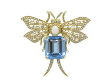 14 Karat Yellow Gold Aquamarine, Opal, Diamond and Seed Pearl Brooch / Pendant Combination