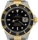 Mens Stainless Steel and Gold Black Dial Rolex Submariner Watch