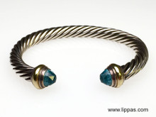 David Yurman Silver, Gold, and Topaz Cable Bracelet
