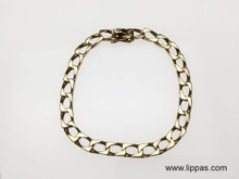 14 Karat Yellow Gold Solid Square Curb Link Bracelet
