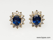 14 Karat Yellow Gold Sapphire and Diamond Cluster Earrings