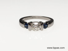 Palladium Old Mine Diamond and Sapphire Ring