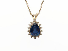 14 Karat Yellow Gold Sapphire and Diamond Pendant