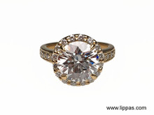 18 Karat Yellow Gold Custom Made Halo Diamond Engagement Ring
