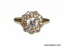 14 Karat Yellow Gold Victorian Old European Diamond Cluster Ring