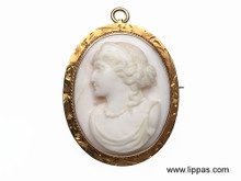 14 Karat Yellow Gold Carved Shell Cameo Dated 1913
