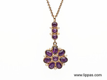 14 Karat Yellow Gold Victorian Amethyst and Seed Pearl Pendant Necklace