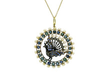 Silver Topped Gold Sapphire, Seed Pearl and Diamond Peacock Pendant