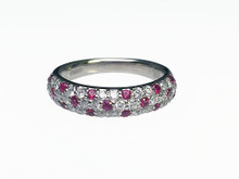 Platinum Ruby and Diamond Pave Band