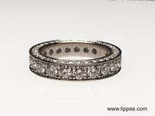 Custom Made Platinum Three Sided Diamond Eternity Band