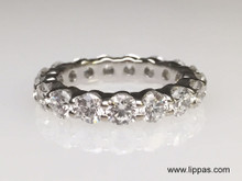 18 Karat White Gold Diamond Shared Prong Eternity Band