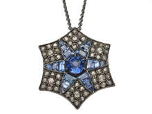 Victorian Silver Topped Gold Sapphire and Rose Cut Diamond Pendant