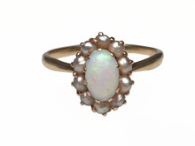 14 Karat Yellow Gold Victorian Opal and Seed Pearl Ring