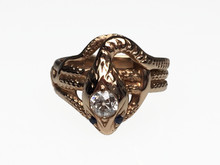 14 Karat Yellow Gold Diamond Snake Ring