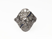 Platinum and 14 Karat White Gold Diamond and Sapphire Edwardian Ring
