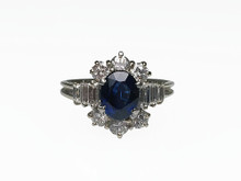 14 Karat White Gold Sapphire and Diamond Cluster Ring
