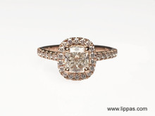 Custom Made Rose Gold Diamond Halo Engagement Ring By Martin Flyer