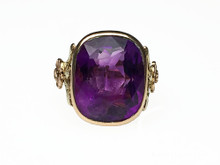 Cushion Cut Amethyst Bezel Set in 18 Karat Yellow, Green and Rose Gold