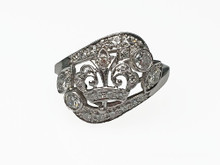 Edwardian Platinum and Diamond Crown Ring