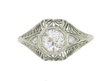 18 Karat White Gold Filigree Diamond Ring, Circa 1930