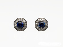 14 Karat White Gold Octagonal Frame Sapphire and Diamond Halo Stud Earrings
