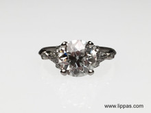 Platinum Art Deco Old European Cut Diamond Ring