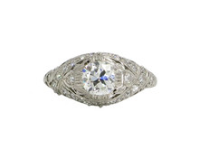Platinum Edwardian Old European Cut Diamond Engagement Ring