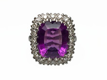 14 Karat White Gold 9 Carat Cushion Amethyst and Diamond Halo Ring