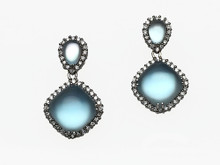 18 Karat White Gold Topaz, Mother of Pearl and Diamond Drop Earrings