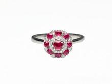 14 Karat White Gold Ruby and Diamond Circle Cluster Ring