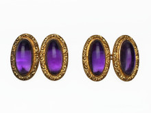 14 Karat Yellow Gold Art Nouveau Cufflinks with Purple Stone