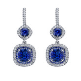 18 Karat White Gold Sapphire and Diamond Drop Earrings
