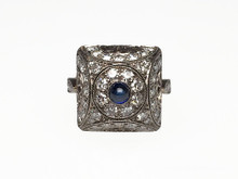 Russian Platinum and 14 Karat Rose Gold Cabochon Sapphire and Diamond Ring