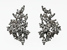 14 Karat White Gold Diamond Cluster Earrings