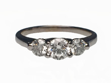14 Karat White Gold Classic Three Stone Round Diamond Ring
