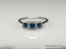 14 Karat White Gold Sapphire and Diamond Three Stone Ring