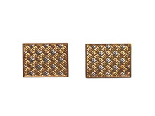 18 Karat Yellow and White French Woven Cufflinks