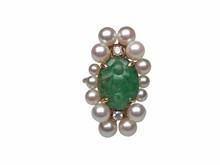 14 Karat Yellow Gold Jade, Pearl and Diamond Ring