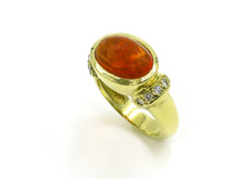 18 Karat Yellow Gold Fire Opal and Diamond Ring