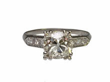 Platinum 2.24 Carat Old Mine Cut Diamond Ring