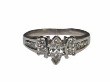 14 Karat White Gold Marquise Diamond Estate Ring