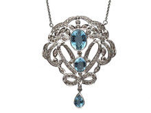 18 Karat White Gold Edwardian Style Aquamarine and Diamond Pendant