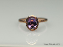 14 Karat Rose Gold Oval Amethyst Ring