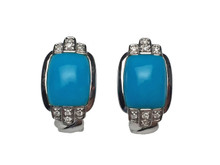 18 Karat White Gold Turquoise and Diamond Earrings