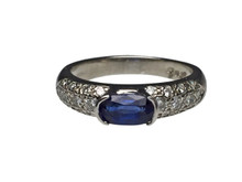Platinum Oval Sapphire and Diamond Ring